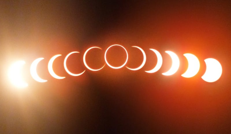 Illustration for article titled A gorgeous composite image of yesterday's ring of fire eclipse