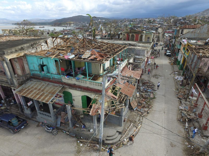 Buildings destroyed and damaged by Hurricane Matthew are seen in Jeremie, in western Haiti, on Oct. 7, 2016.NICOLAS GARCIA/AFP/Getty Images