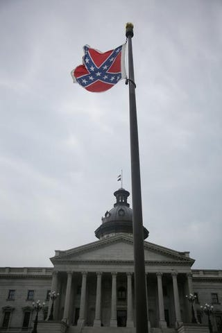 The Confederate flag flies on Statehouse grounds June 22, 2015, in Columbia, S.C., after South Carolina Gov. Nikki Haley announced that she will call for the Confederate flag to be removed.Joe Raedle/Getty Images