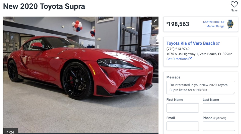 Illustration for article titled Here's a 2020 Toyota Supra Marked Up to Nearly $200,000