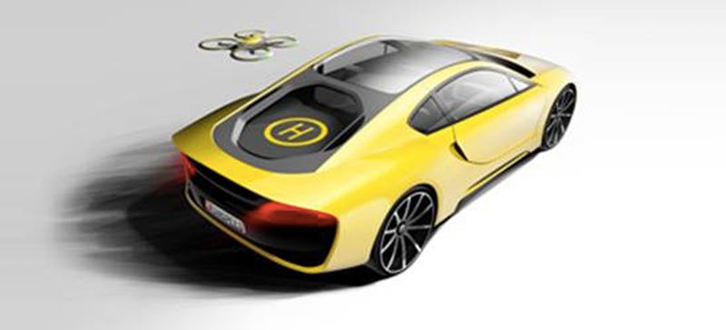 Illustration for article titled This Hybrid Sports Car Comes With Its Own Autopilot Drone