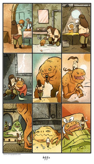 Illustration for article titled These sweet Star Wars comics will make your heart ache for the Rancor and Sarlacc