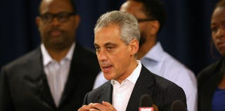 Chicago Mayor Rahm Emanuel at a prayer service for mass park shooting, Sept. 20, 2013 (Scoot Olsen/Getty Images)