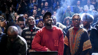 Kanye West performs during the Kanye West Yeezy Season 3 presentation Feb. 11, 2016, in New York City.Jamie McCarthy/Getty Images for Yeezy Season 3