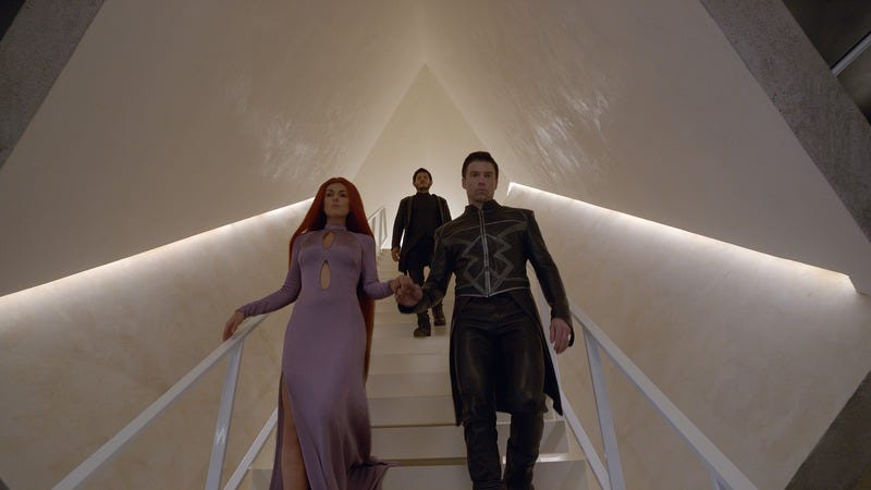 Serinda Swan (left), Iwan Rheon, and Anson Mount in Marvel's Inhumans (Photo: ABC/Marvel)