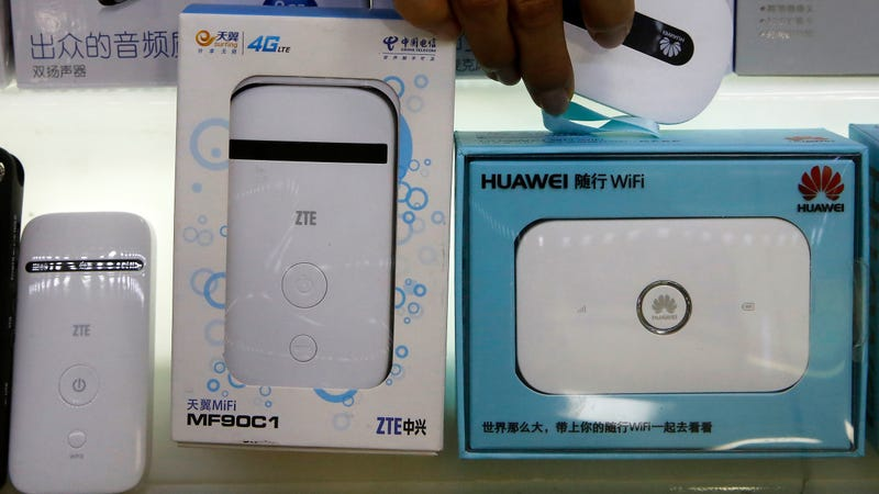Huawei and ZTE devices on sale at a mall in Beijing in 2018.