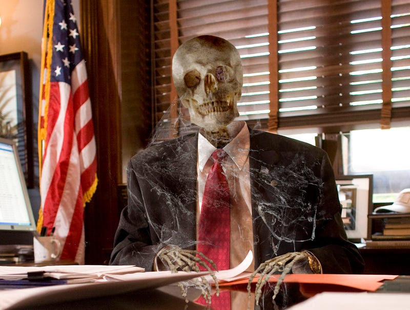 Illustration for article titled Cobweb-Covered Skeleton Gripping Senate Desk Expected To Seek 15th Term