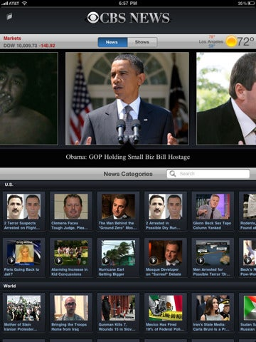 Illustration for article titled CBS News Comes to the iPad, in Thumbnails