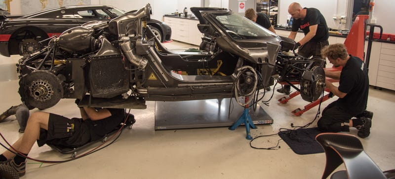 Koenigsegg takes apart the crashed One:1 to see what went wrong. Photo credit: Koenigsegg