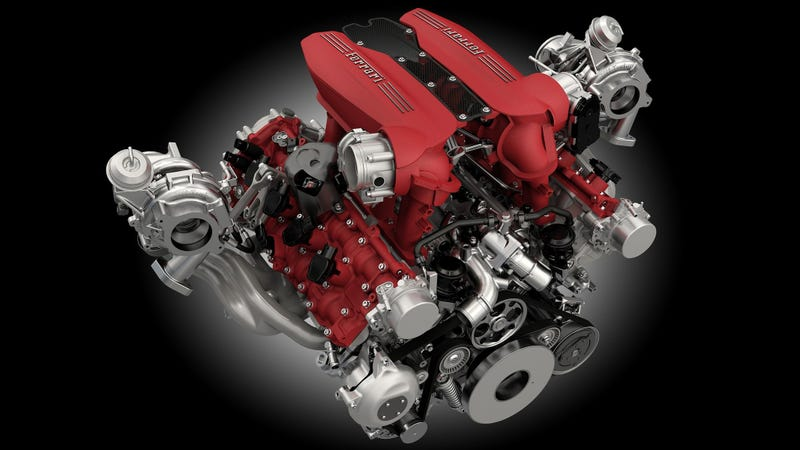 Pictured: An engine from a Ferrari 488 GTB