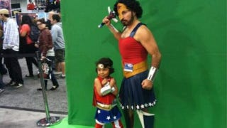 Father and daughter in matching Wonder Woman outfits make ...