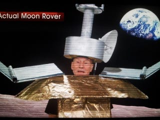 """Illustration for article titled Patrick Stewart as failing """"Jade Rabbit"""" lunar Rover on the Daily Show"""