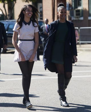 Malia and Sasha Obama in Selma, Ala., March 7, 2015, for an event marking the 50th anniversary of the Selma to Montgomery civil rights marchesSAUL LOEB/AFP/Getty Images