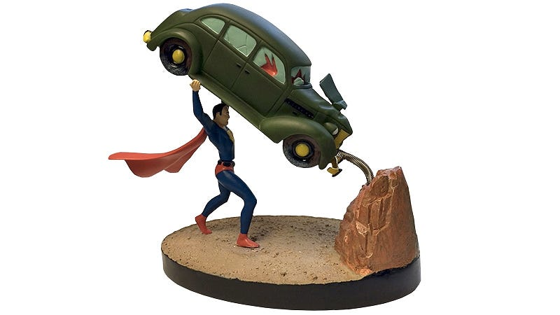 Illustration for article titled Superman's Action Comics' Cover Perfectly Recreated As a Springy Statue