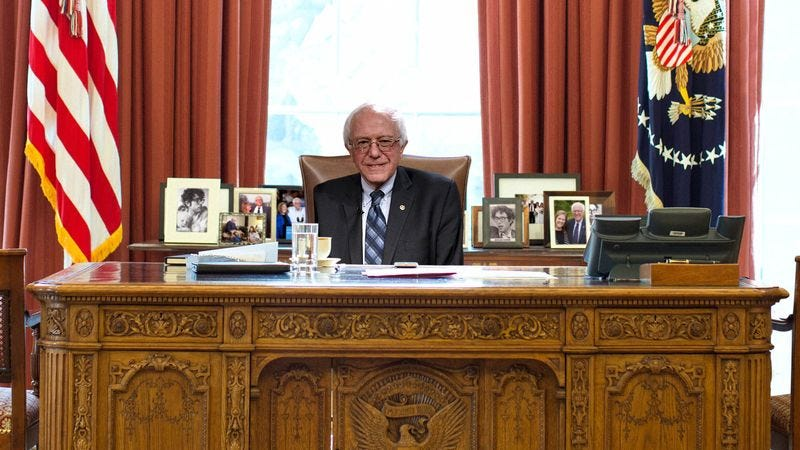 Illustration for article titled Look Away, Bernie Voters. These Photoshops Of Bernie Sanders In The White House Will Be Too Painful.