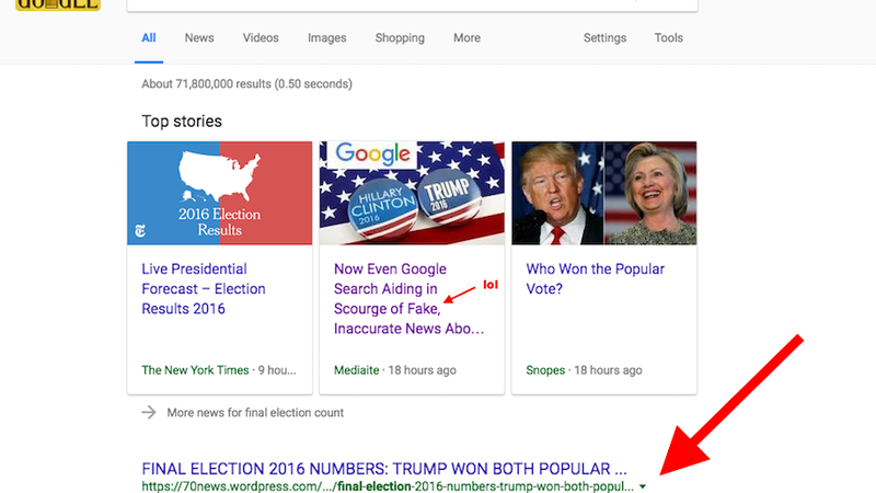 Google's Top Post About Election Results Is Complete Bullshit