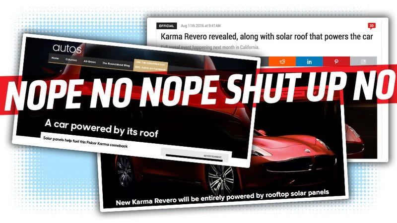 Illustration for article titled The Claim That The Karma Revero's Solar Roof Will 'Power The Car' Is Such Bullshit