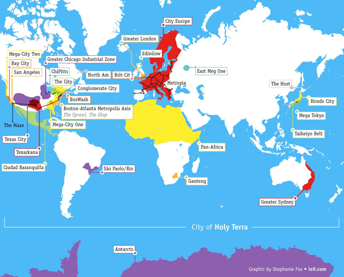 Heres A Map That Shows All The Future Megacities From Science Fiction
