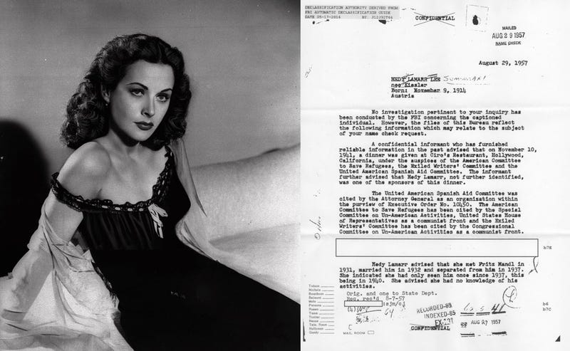 Hedy Lamarr in 1946 and the first page from her FBI file