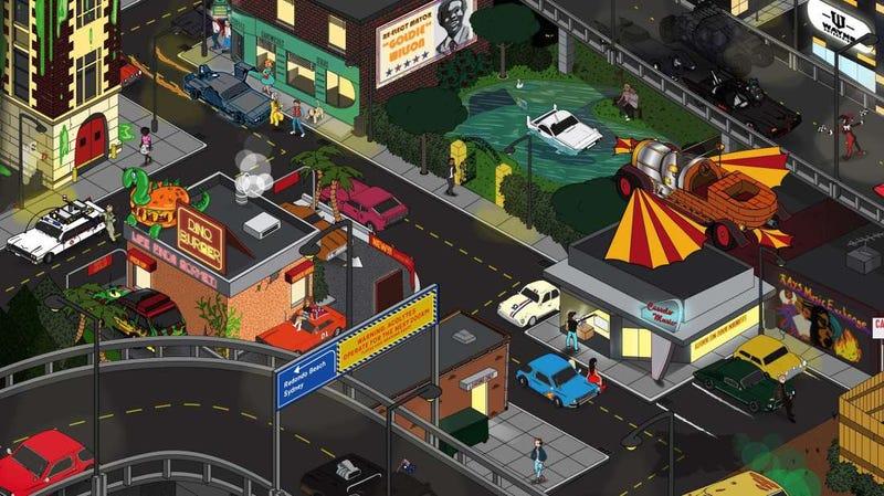 Illustration for article titled ¿Puedes encontrar los 24 vehículos míticos de películas ocultos en esta ilustración?