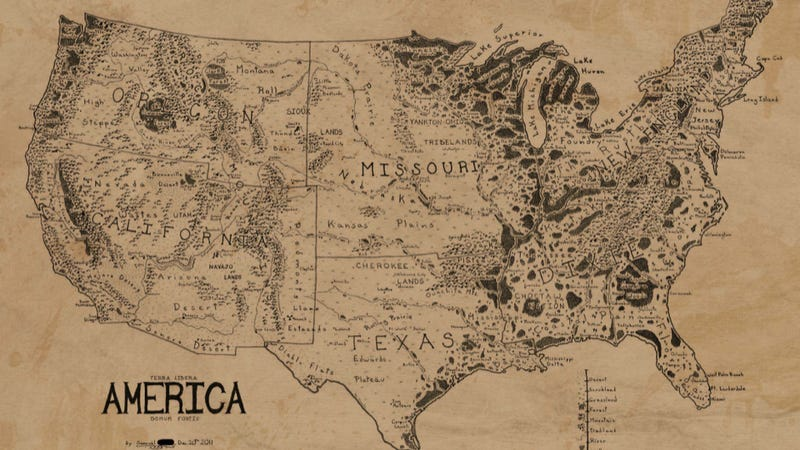 A map of the united states drawn in the style of lord of the rings have you ever wondered what a map of the continental us might look like if it were subjected to the stylings of christopher and jrr tolkien who gumiabroncs Image collections