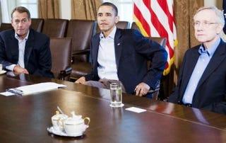 John Boehner, Barack Obama and Harry Reid (Kristoffer Tripplaar-Pool/Getty Images)