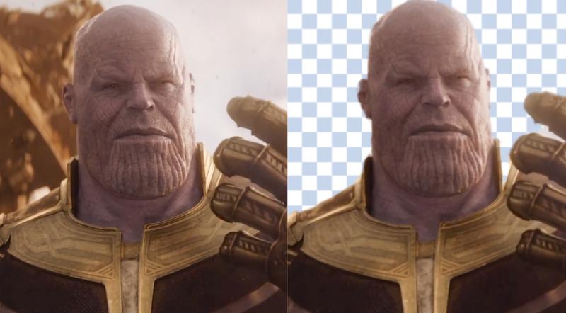 A la izquierda: Thanos en Avengers: Infinity War. A la derecha: la misma imagen sin el fondo detrás de Thanos.