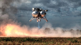 Illustration for article titled NASA's hovering lander looked beautiful at yesterday's test-launch