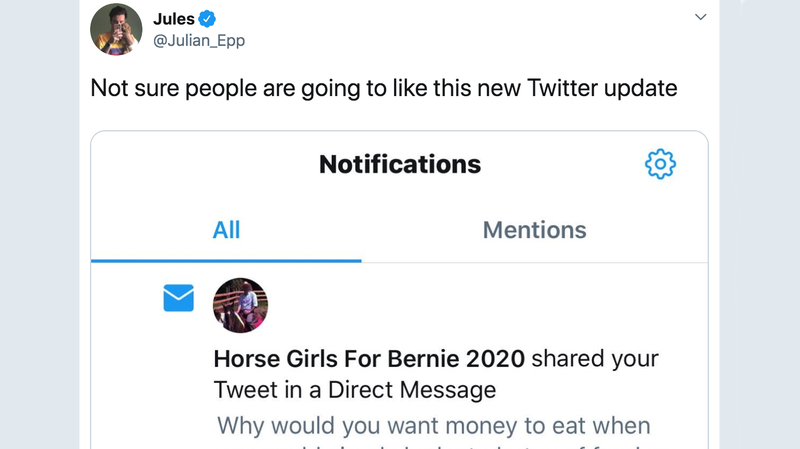 Illustration for article titled Is Twitter Notifying Users When Their Tweets Are Shared in DMs? No. What? Of Course Not.