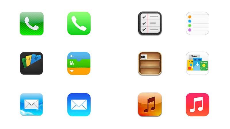 Todos los iconos de iOS 6 vs iOS 7 en una sola imagen