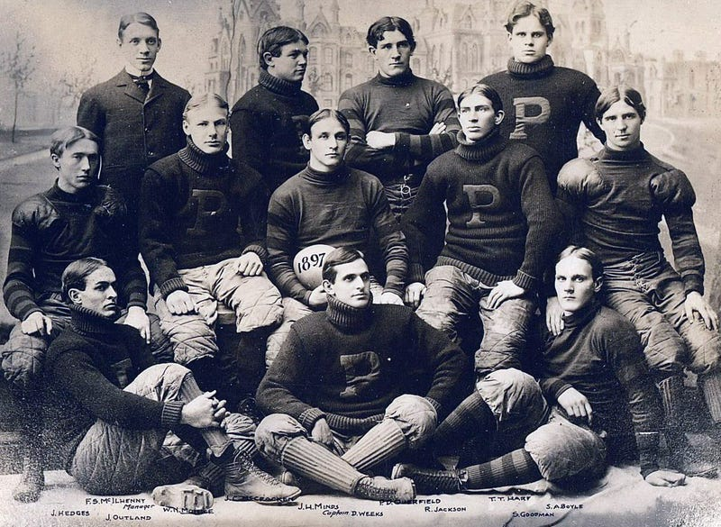 The 1897 Penn Quakers went 15-0, allowing just 20 points. John Outland, bottom left, was an All-American tackle that season.