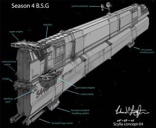 Illustration for article titled Battlestar's Designer Lovingly Creates A Ship, Only To Wreck It