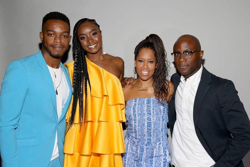 """If Beale Street Could Talk"" cast members Stephan James, left, KiKi Layne, Regina King, and the film's Academy Award-winning, director Barry Jenkinsin in the Essence.com press room"