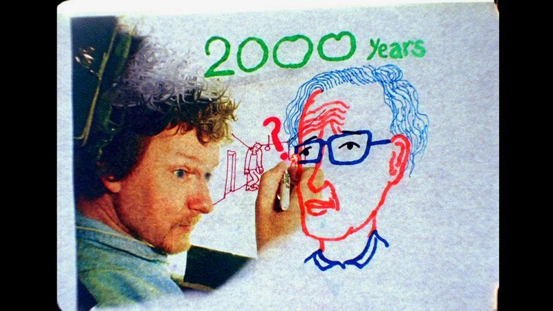 Illustration for article titled Michel Gondry chats with Noam Chomsky in Is The Man Who Is Tall Happy?