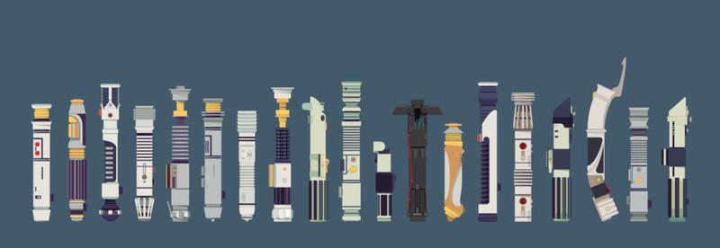 Illustration for article titled ¿Eres capaz de identificar a quién pertenecen estos sables láser?