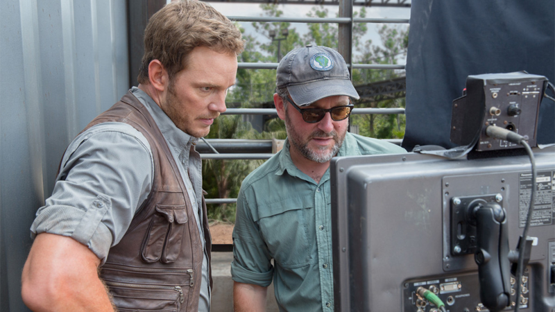 Chris Pratt and Colin Trevorrow on the set of Jurassic World.