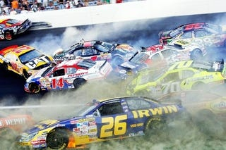 Illustration for article titled Yeeee-Haw! NASCAR Encouraging Higher Speeds, More Crashes!