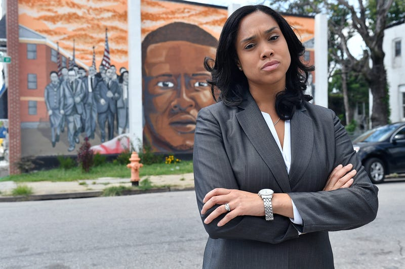 Baltimore City State's Attorney Marilyn J. Mosby walking through the city's Sandtown-Winchester neighborhood, where Freddie Gray was arrested, on Aug. 24, 2016 (Larry French/Getty Images)