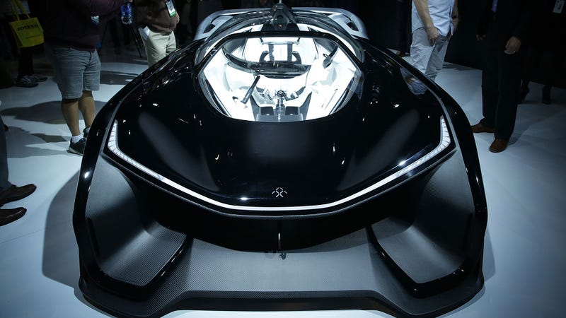 At the time of this deal, we all expected Faraday Future to show a production car at the upcoming (now last year's) CES. Instead they showed this FFZERO1 concept car. Photo Credit: Getty Images