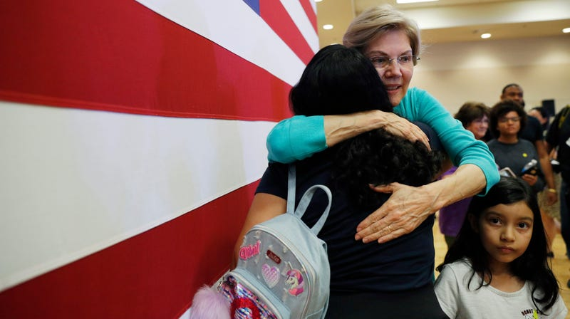 Presidential candidate Sen. Elizabeth Warren (D-Mass.) embraces a supporter at a campaign event, July 2, 2019, in Las Vegas.