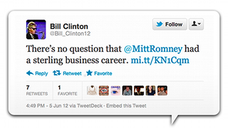 Illustration for article titled Romney Campaign Tweets From Bill Clinton Parody Account