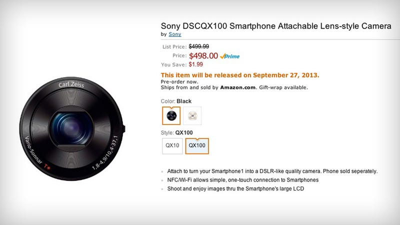 Illustration for article titled Sony's Crazy Smartphone Lens Cameras Are Already on Amazon
