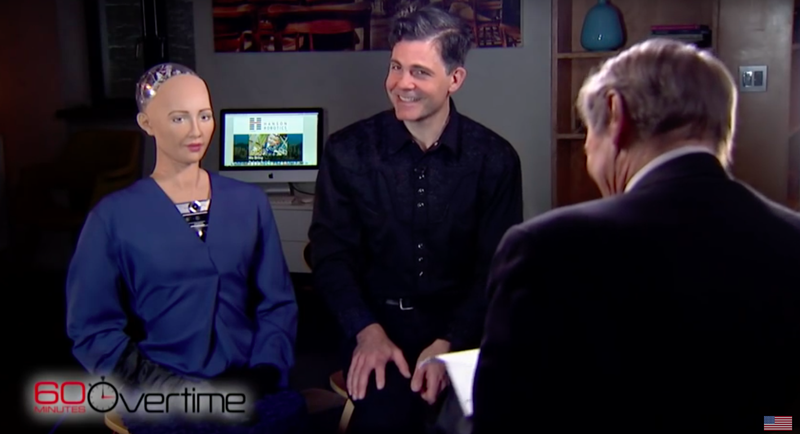 Illustration for article titled Charlie Rose Flirting With a Creepy Robot Is Worse Than It Sounds