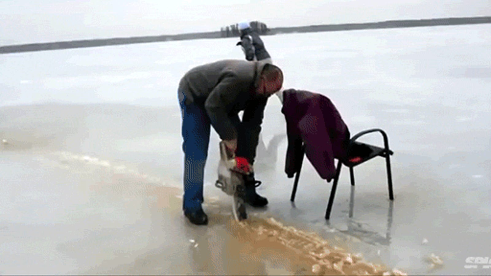 Crazy people chainsawed a frozen lake to make a spinning ice