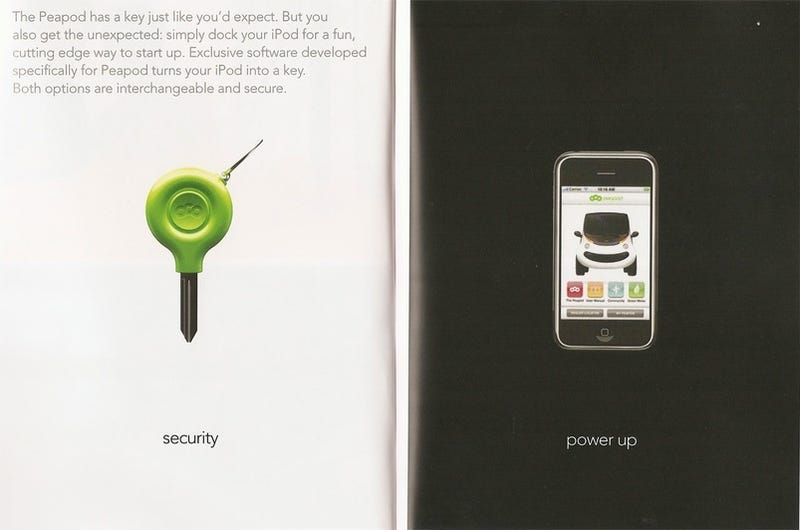 Illustration for article titled Chrysler's Peapod 'Neighborhood Car' Turns Your iPhone Into a Key