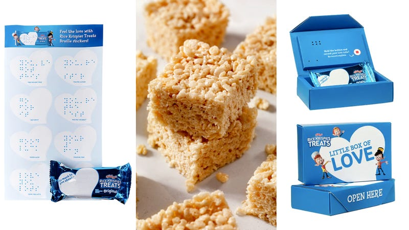 "Illustration for article titled Rice Krispies Treats offers braille ""love note"" kit for kids with low vision"