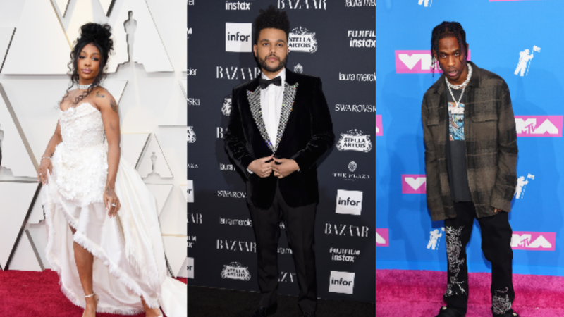 (L-R): SZA attends the 91st Annual Academy Awards on February 24, 2019 in Hollywood, California. The Weeknd attends Harper's BAZAAR Celebration of 'ICONS By Carine Roitfeld' on September 8, 2017 in New York City. Travis Scott attends the 2018 MTV Video Music Awards on August 20, 2018 in New York City.