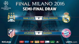 Illustration for article titled Here's The Champions League Semifinal Draw