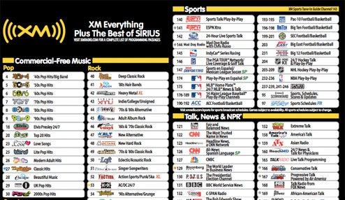 the complete new xm sirius channel listing sorry xm fans rh gizmodo com xm radio guide royals xm radio guide print out