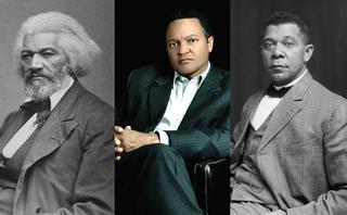 Frederick Douglass (Wikimedia Commons); Kenneth B. Morris Jr. (courtesy of Kenneth B. Morris Jr.); Booker T. Washington (Wikimedia Commons)
